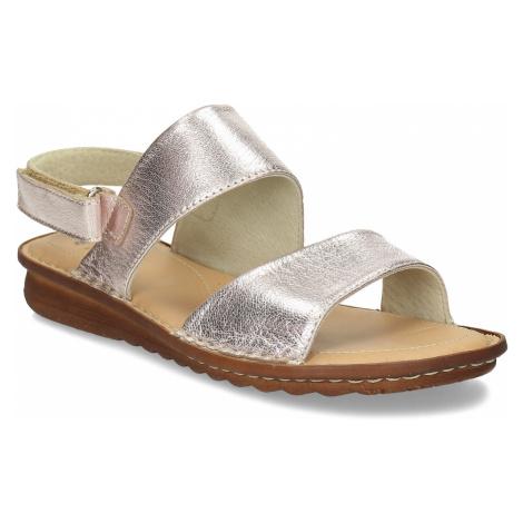 Zlaté dámské kožené sandály Baťa
