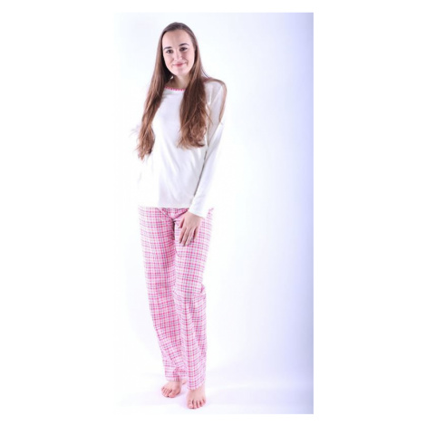 Dámské pyžamo Erika 3 růžové s káro vzorem Nelly