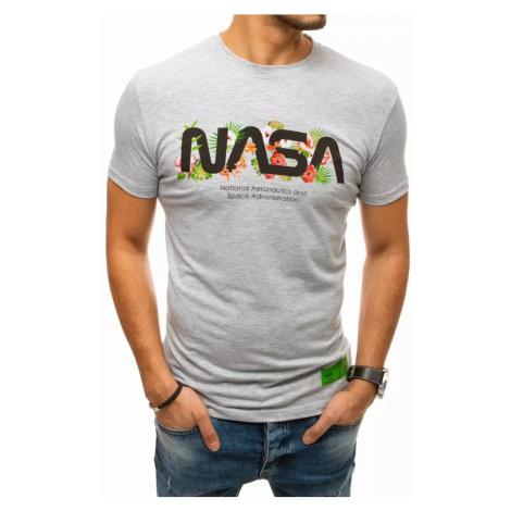 Dstreet Originální světle šedé tričko s potiskem NASA