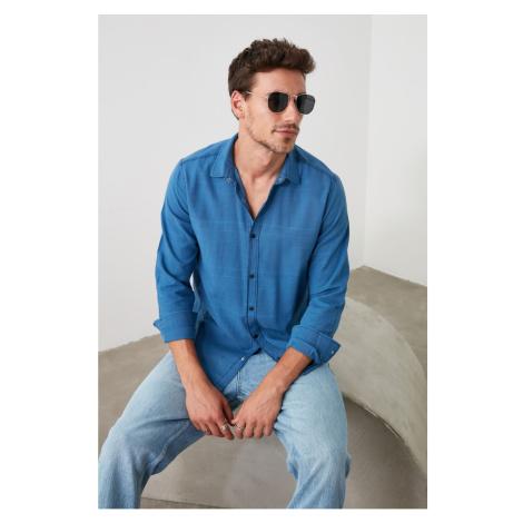 Trendyol Blue Men's Striped Shirt Collar Slim Fit Denim Shirt