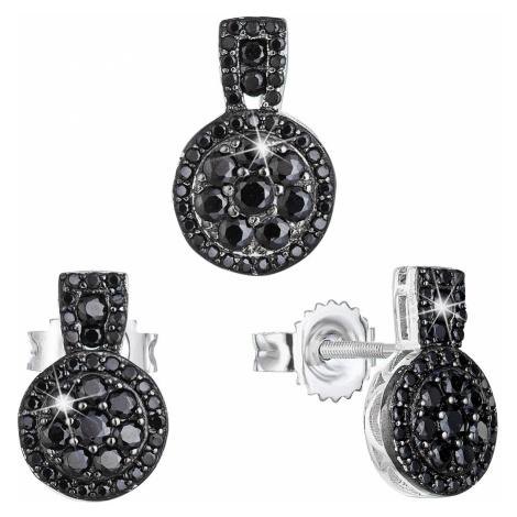Sada šperků se zirkonem náušnice a přívěsek černé kulaté 19024.3 Victum