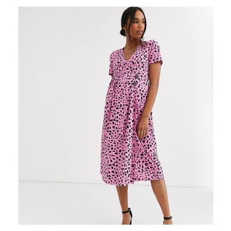 ASOS DESIGN Maternity pleated skirt midi dress with button detail in animal print-Multi