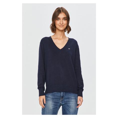 Tommy Hilfiger Tommy Jeans dámský tmavě modrý svetr SOFT TOUCH V-NECK SWEATER