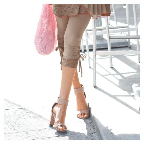Blancheporte Korzárské kalhoty s krajkou hnědošedá