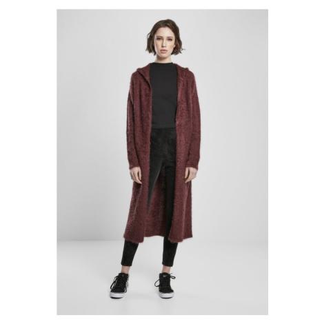 Ladies Hooded Feather Cardigan - cherry Urban Classics