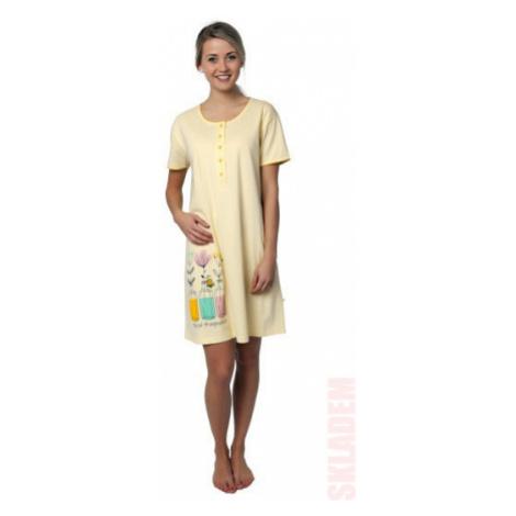 Dámská noční košile - CALVI 19-043, žlutá