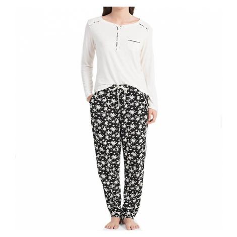 Calvin Klein dámské pyžamo QS5821E smetanové - Smetanová