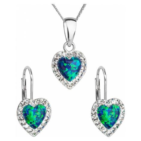 Sada šperků se syntetickým opálem a krystaly Swarovski náušnice a přívěšek zelené srdce 39161.1 Victum