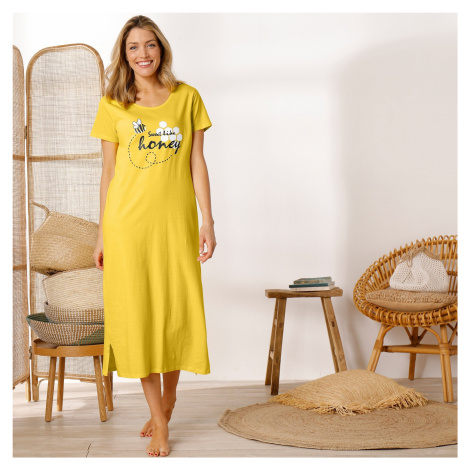 Blancheporte Dlouhá noční košile, s potiskem včelky žlutá
