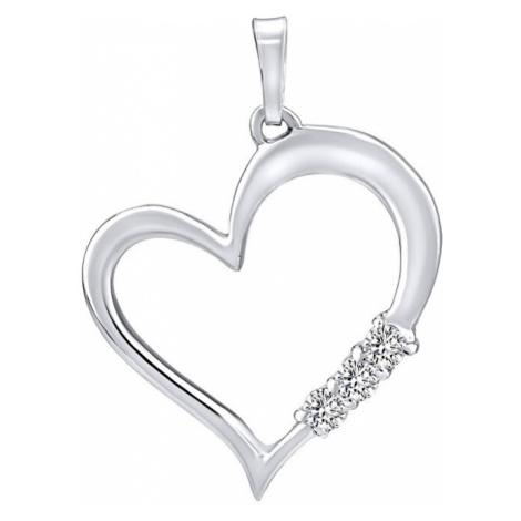 Silvego Stříbrný přívěsek Srdce s čirými krystaly Swarovski SILVEGO11580w