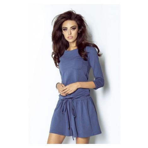 Dámské bavlněné šaty sportovního střihu v modré barvě 211 IVON
