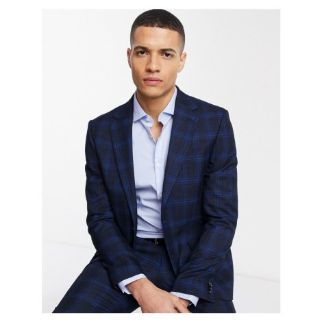 Moss London suit jacket in ink blue check MOSS BROS.