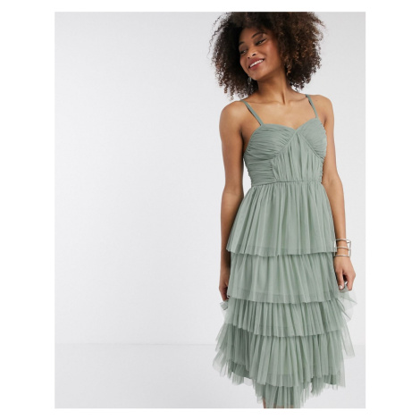 Anaya With Love tulle frilly tiered midi dress in green