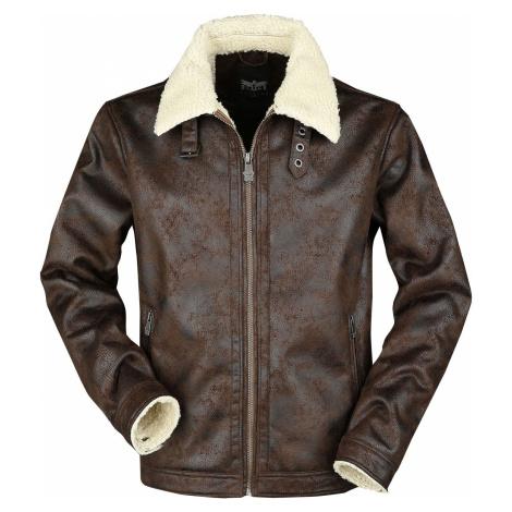 Black Premium by EMP Hnědá koženková letecká bunda s kožešinovým límcem bunda Špinavě bílá / hně