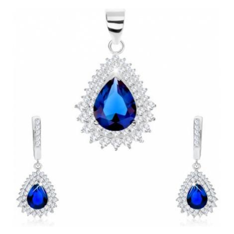 Stříbrný 925 set, přívěsek a náušnice, zirkonová slza, čirý lem Šperky eshop