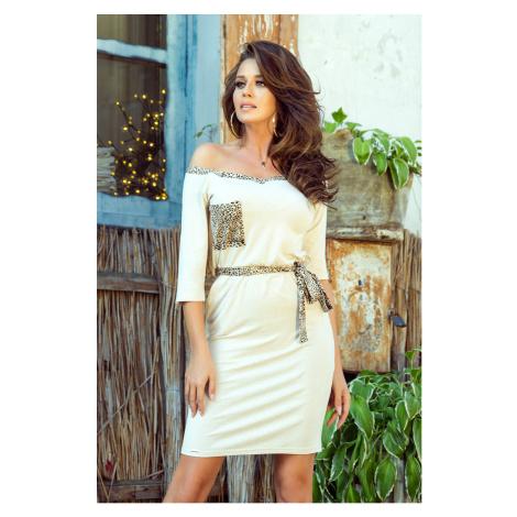 Béžové dámské šaty s kapsičkou a ozdobným panteřím vzorem 278-2 NUMOCO