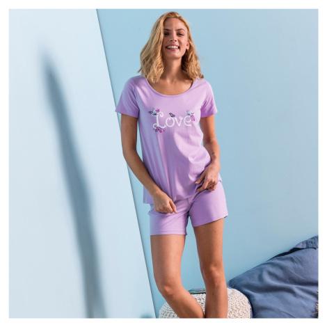 """Blancheporte Pyžamo se šortkami a krátkými rukávy, potisk """"kočky"""" lila"""
