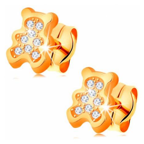 Zlaté náušnice 585 - medvídek vykládaný čirými zirkony, puzetky Šperky eshop