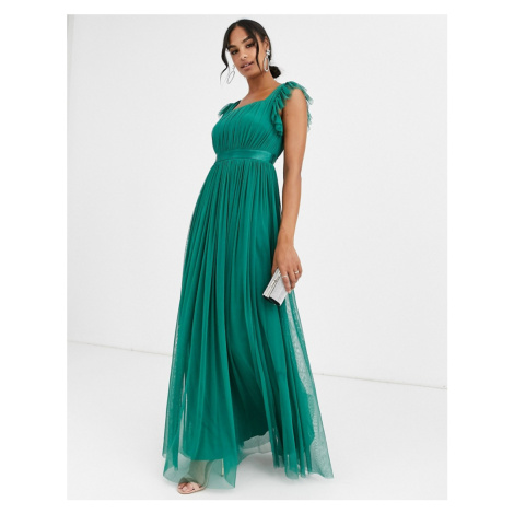 Anaya With Love frill maxi dress in emerald green