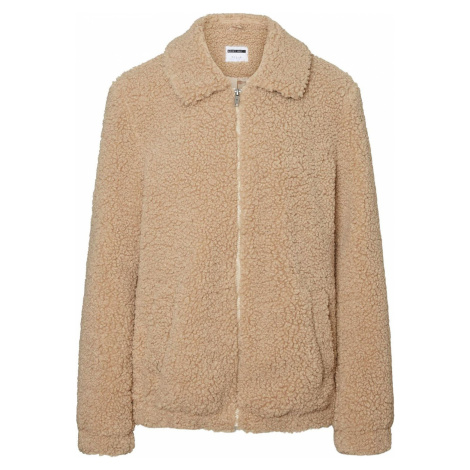 Noisy May Gabi Short Teddy Jacket Dámská bunda světle hnědá