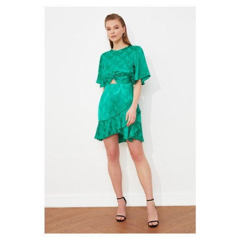 Trendyol Emerald Green Flounce Jacquard Satin Dress