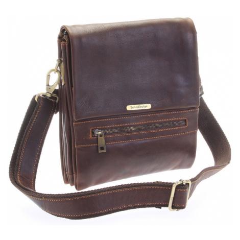 Kvalitní hnědá pánská kožená taška - Sendi Design Hektor