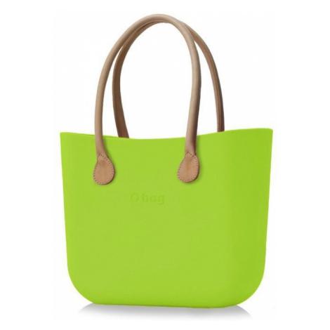 O bag kabelka Mela s dlouhými koženkovými držadly natural
