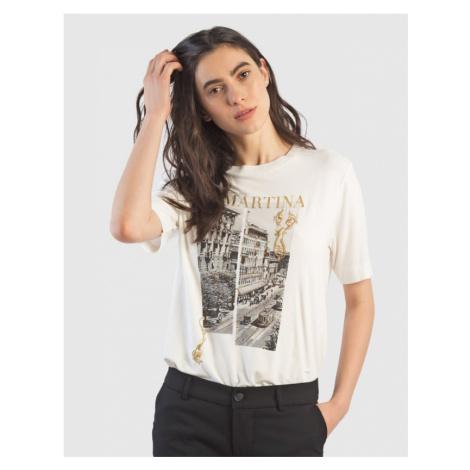 Tričko La Martina Woman T-Shirt Viscose Jersey - Bílá