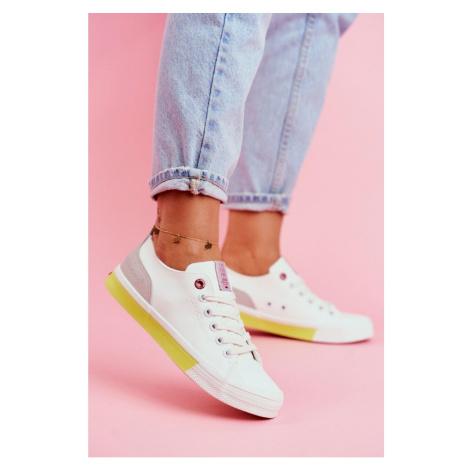Women's Sneakers Cross Jeans White Yellow FF2R4042C