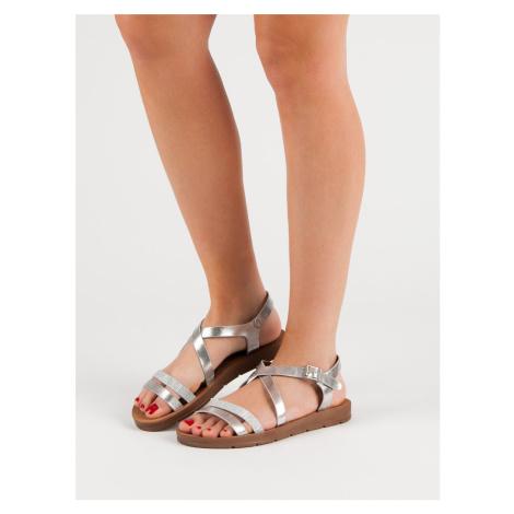 Praktické šedo-stříbrné  sandály dámské bez podpatku FILIPPO