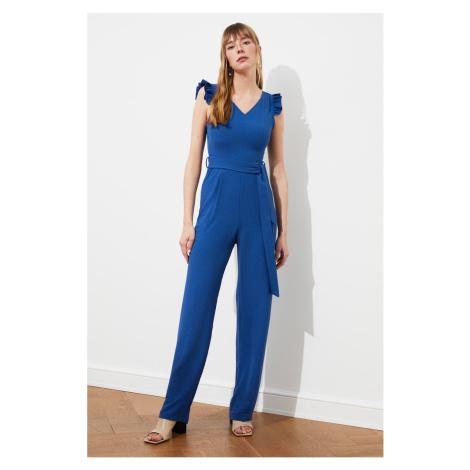 Trendyol Indigo Belt Frilly Jumpsuit