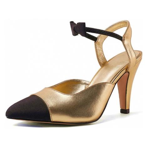Originální kožené lodičky lesklé svatební boty na podpatku s mašlí