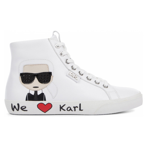 Kotníková Obuv Karl Lagerfeld Skool Karl Ikonic Hi Lace - Bílá