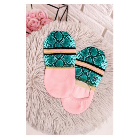 Dámské růžovo-zelené kotníkové ponožky Skyler XPOOOS