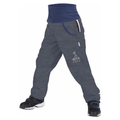 Dětské softshellové kalhoty s fleecem UNUO, Žíhaná Antracitová