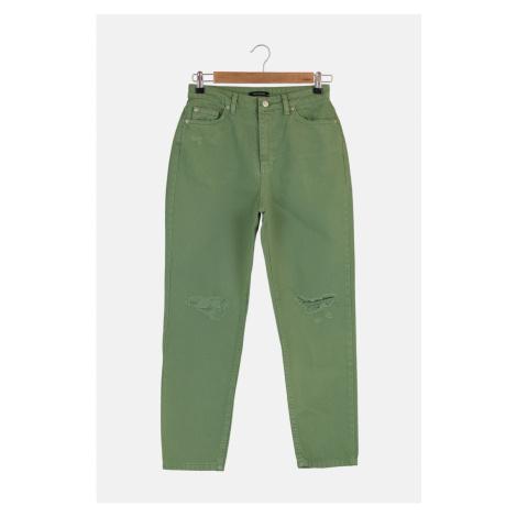 Trendyol Khaki Ripped Detailed High Waist Mom Jeans