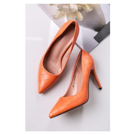 Oranžové lodičky na tenkém podpatku Silviana Mulanka