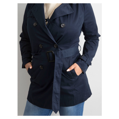 Women´s trench coat with a navy blue belt Fashionhunters