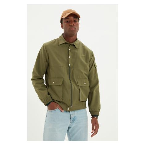 Trendyol Khaki Men's Double Flap Pocket Zippered Slim Coat