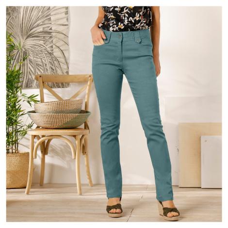 Blancheporte Rovné kalhoty s vysokým pasem, malá postava šedozelená