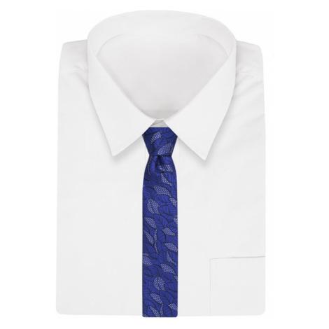 Královsky modrá kravata se vzorem listí