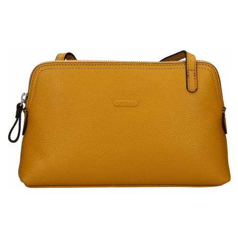 Kožená dámská crosbody kabelka Katana Mia - žlutá