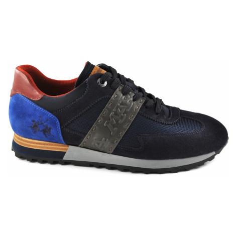 Tenisky La Martina Man Shoes Suede - Tex Fabric Blue - Modrá