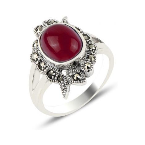 OLIVIE Prsten z červeného achátu a markazitu 4283