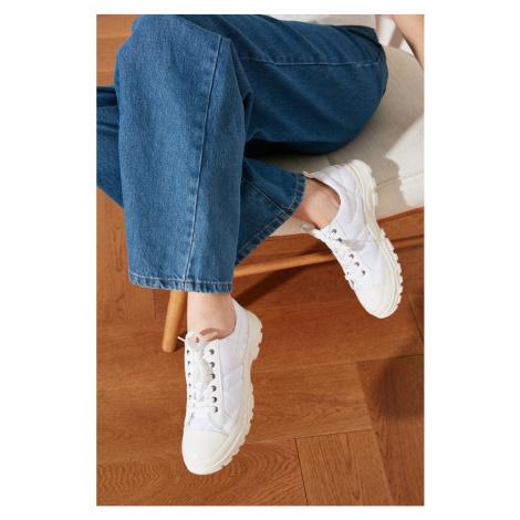 Trendyol White Thick Bottom Puffy Women's Sneaker