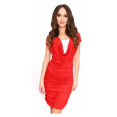 Dlouhé šaty s řasením a krátkým rukávem barva červená
