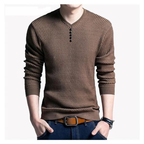 Pánský svetr na knoflíky bavlněný pulovr s kulatým výstřihem