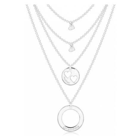 Stříbrný náhrdelník 925 - čtyři řetízky s přívěsky, kruhy a srdíčka, nápisy Šperky eshop