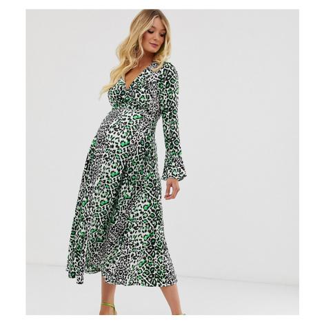 ASOS DESIGN Maternity wrap maxi dress in neon leopard print