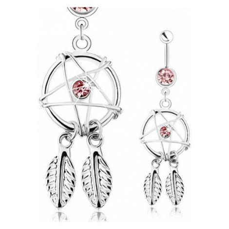 Ocelový piercing do bříška, lapač snů s pírky a růžovým zirkonem Šperky eshop